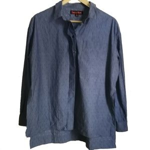 Dance & Marvel Blue Chambray Cotton Button Front Oversized Blouse Size XS